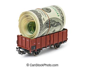 trem, com, dinheiro