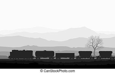 trem, com, frete, vagões, sobre, enorme, montanhas.