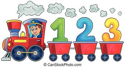 trem, com, três, números