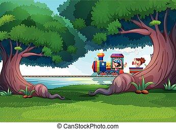 trem, crianças, cena, floresta