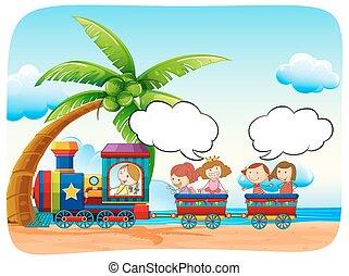 trem, crianças, praia