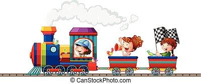 trem, crianças