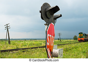 trem, cruzamento assina, aproximar-se, ferrovia