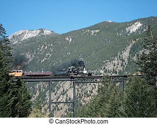 trem, cruzamento, ravina