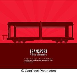 trem, desenho, transporte, veículo