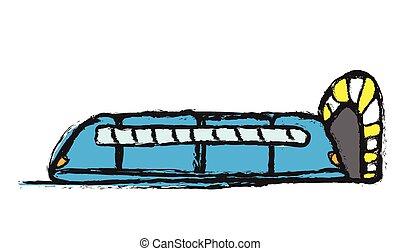 trem, doodle, modernos, vetorial