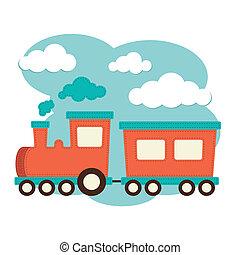 trem, e, carruagem
