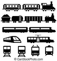 trem, e, estrada ferro, transporte, ícones
