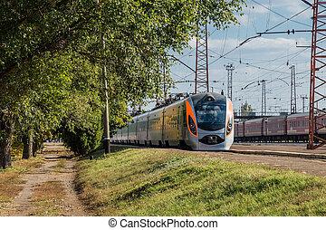 trem, em, a, estação