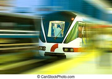 trem, em movimento
