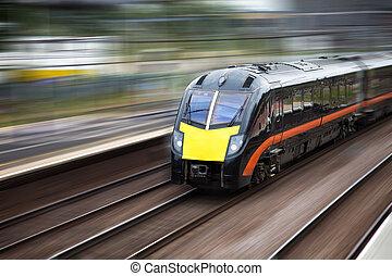 trem, em movimento, rapidamente