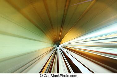 trem, em movimento, rapidamente, em, túnel