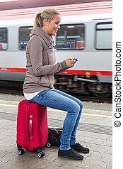 trem, escreve, mulher, sms, esperando