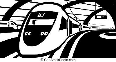trem, estação de comboios, aproximar-se