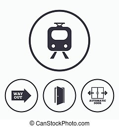 trem, estrada ferro, icon., porta automática, símbolo.