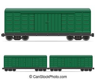 trem, estrada ferro, vetorial, carruagem, ilustração