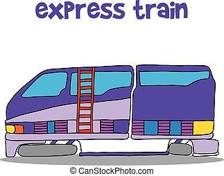 trem expresso, caricatura, ilustração