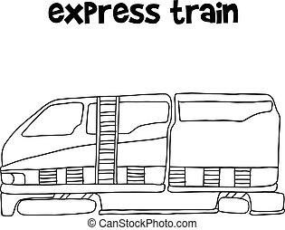 trem expresso, vetorial, ilustração
