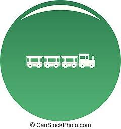 trem expresso, vetorial, verde, ícone