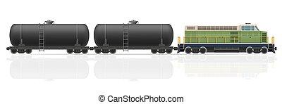 trem ferrovia, com, locomotiva, e, vagões, vetorial,...