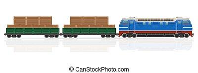 trem ferrovia, com, locomotiva, e, vagões, vetorial, ilustração