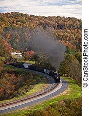 trem ferrovia, poderes, ao longo, vapor