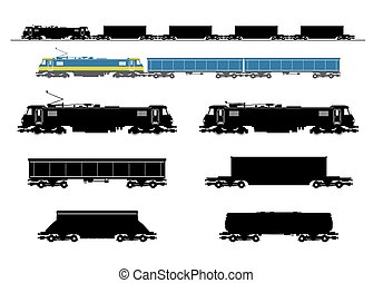 trem, frete, silhouette.
