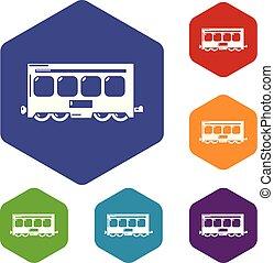 trem, hexahedron, vetorial, rapidamente, ícones