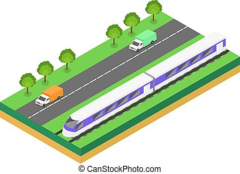 trem, highway., rapidamente