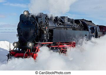 trem, histórico, inverno, vapor