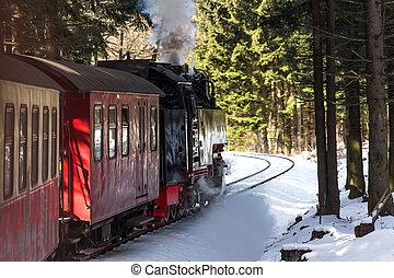 trem, histórico, vapor, inverno, floresta