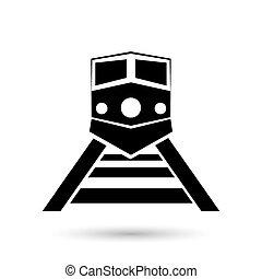 trem, icon., vetorial, transporte, ilustração