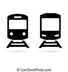trem, ilustração, ícone