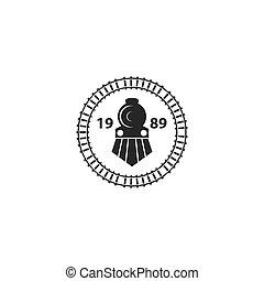 trem, ilustração, logotipo