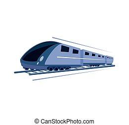 trem, isolado, rapidamente, ícone