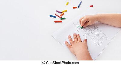 trem, it., space., criança, branca, cera, coloração, delinear, toddler, creions, fundo, motor, páginas, usos, multa, pintura, habilidades, cópia, coloridos, robot.