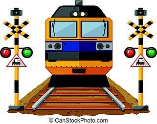 trem, ligado, a, ferrovia