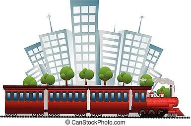 trem, ligado, cidade