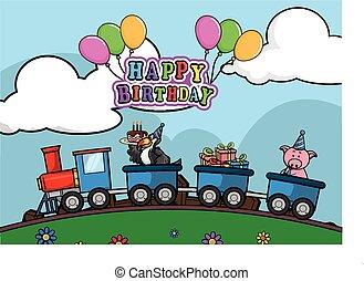 trem, locomotiva, aniversário