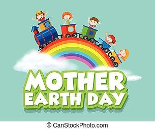 trem, mãe, feliz, terra, crianças, desenho, dia, cartaz