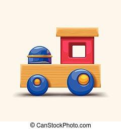 trem madeira, brinquedo, coloridos