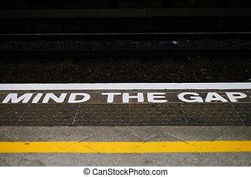 trem, mente, england., estação, alert., lacuna