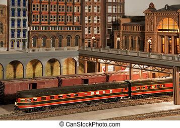 trem modelo, com, edifícios