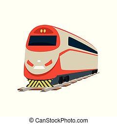 trem, modernos, ilustração, vetorial, estrada ferro, velocidade, locomotiva
