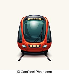 trem, modernos, vista, frente, elétrico