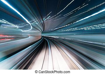 trem, mover-se dentro, túnel