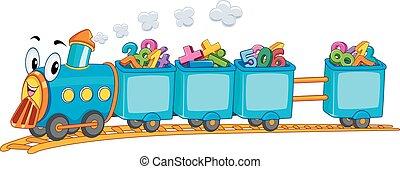 trem, números, matemática, mascote