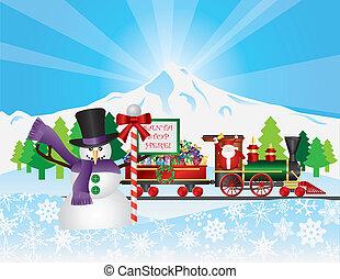 trem, neve, santa, cena