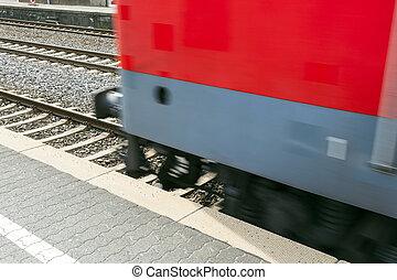 trem, passa, com, velocidade