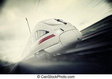 trem passageiro, em movimento, rapidamente